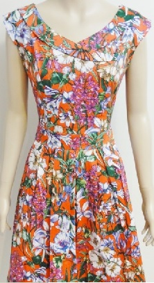 Orange Floral Cotton Dress S14